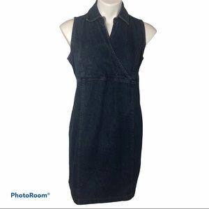 Maternity Dress Denim Motherhood Sleeveless S Blue